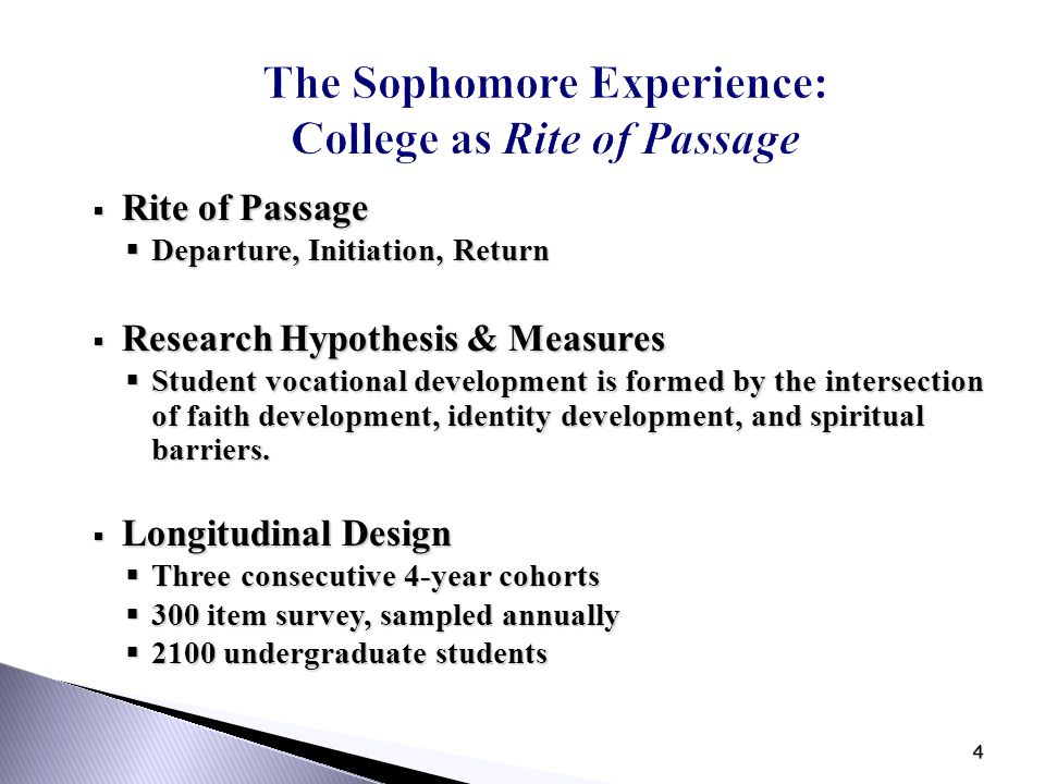 4 The Sophomore Experience: College as Rite of Passage  Rite of Passage  Departure, Initiation, Return  Research Hypothesis & Measures  Student vo