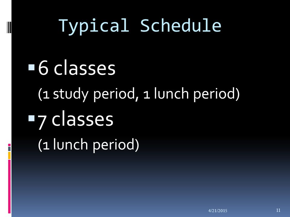 Typical Schedule  6 classes (1 study period, 1 lunch period)  7 classes (1 lunch period) 4/21/2015 11