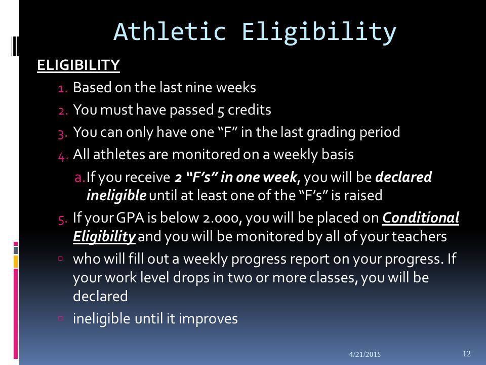 Athletic Eligibility ELIGIBILITY 1.Based on the last nine weeks 2.