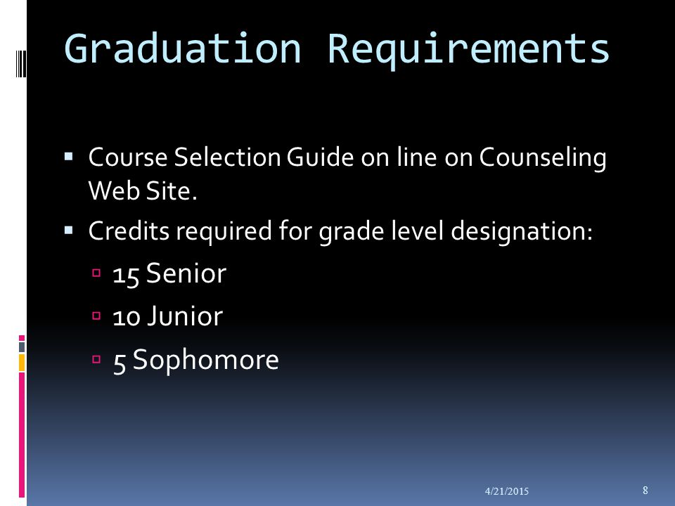 Graduation Requirements  Course Selection Guide on line on Counseling Web Site.