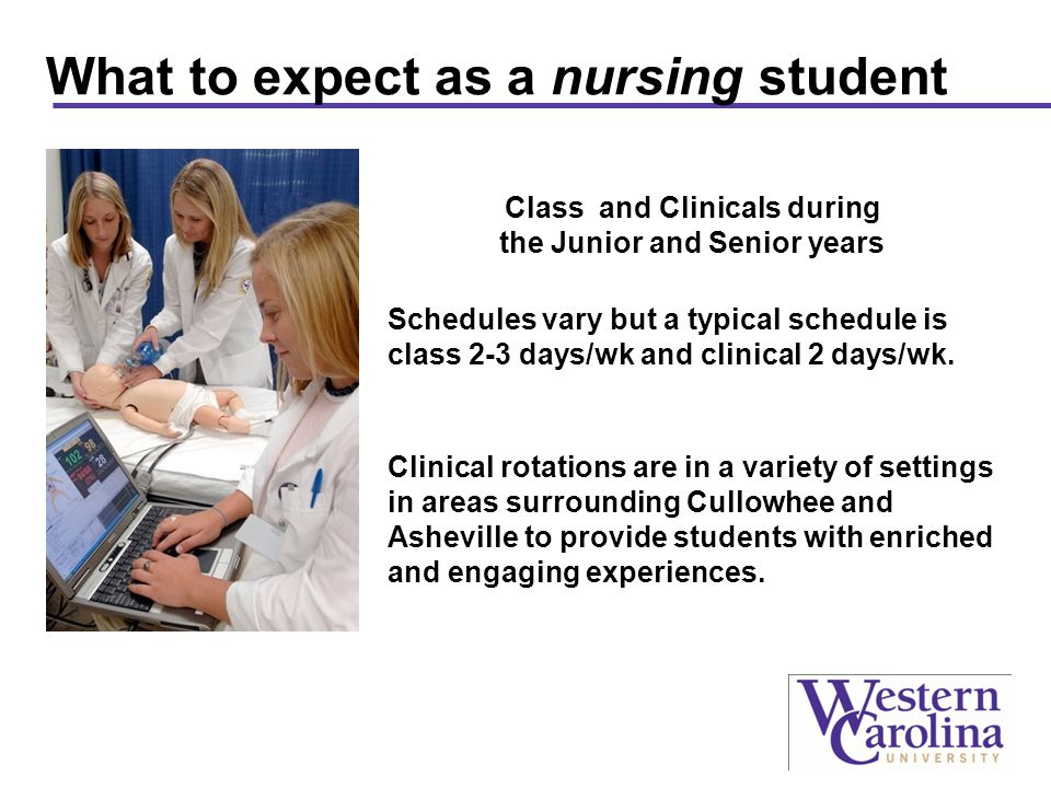 What to expect as a nursing student Class and Clinicals during the Junior and Senior years Schedules vary but a typical schedule is class 2-3 days/wk and clinical 2 days/wk.