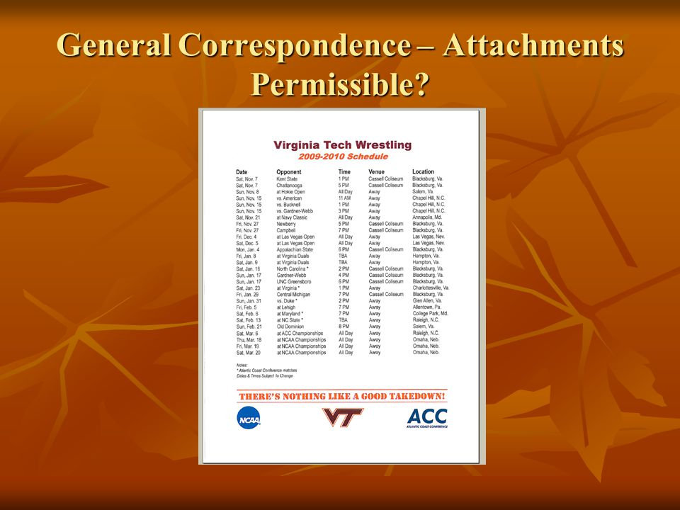 General Correspondence – Attachments Permissible