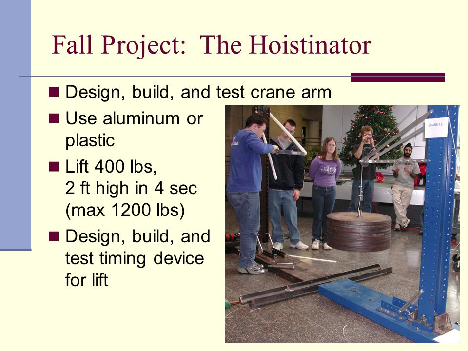 Fall Project: The Hoistinator Design, build, and test crane arm Use aluminum or plastic Lift 400 lbs, 2 ft high in 4 sec (max 1200 lbs) Design, build, and test timing device for lift