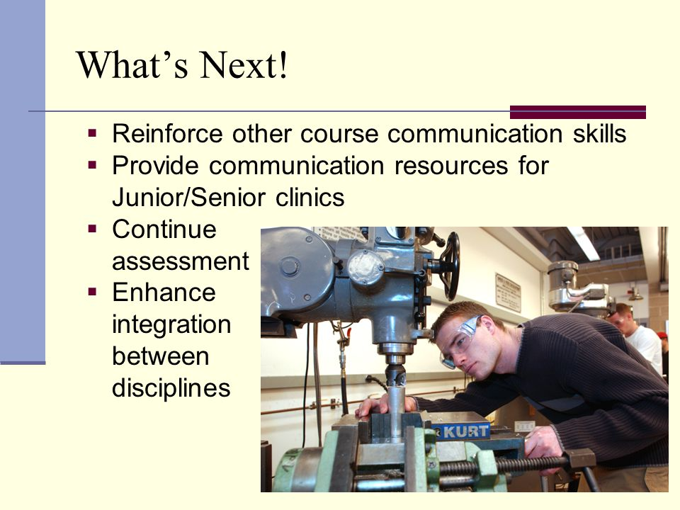 What's Next!  Reinforce other course communication skills  Provide communication resources for Junior/Senior clinics  Continue assessment  Enhance