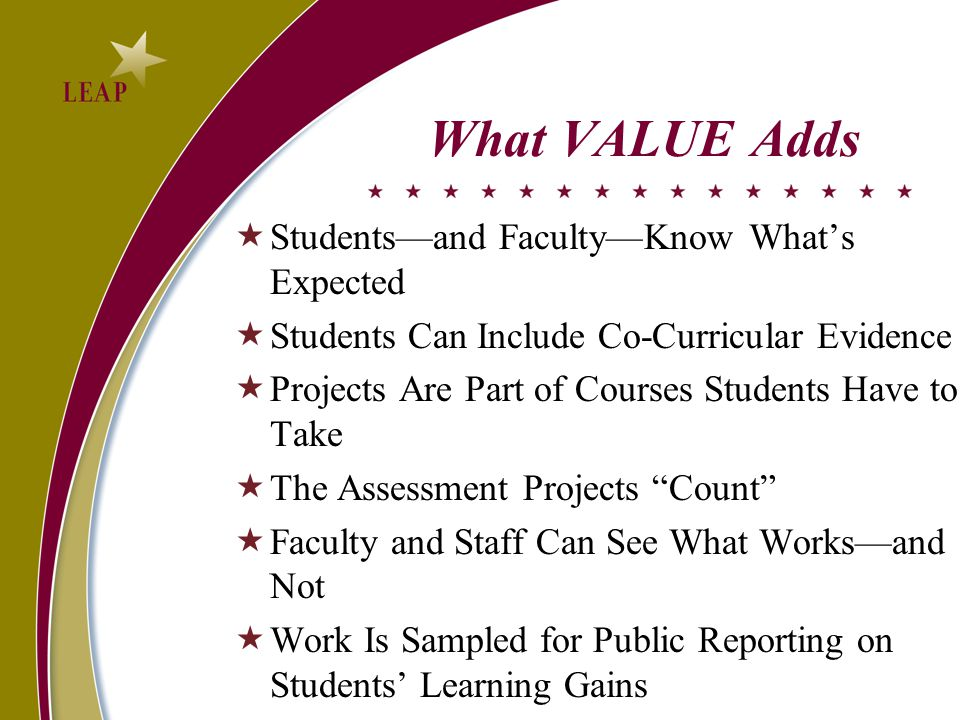 What VALUE Adds  Students—and Faculty—Know What's Expected  Students Can Include Co-Curricular Evidence  Projects Are Part of Courses Students Have to Take  The Assessment Projects Count  Faculty and Staff Can See What Works—and Not  Work Is Sampled for Public Reporting on Students' Learning Gains