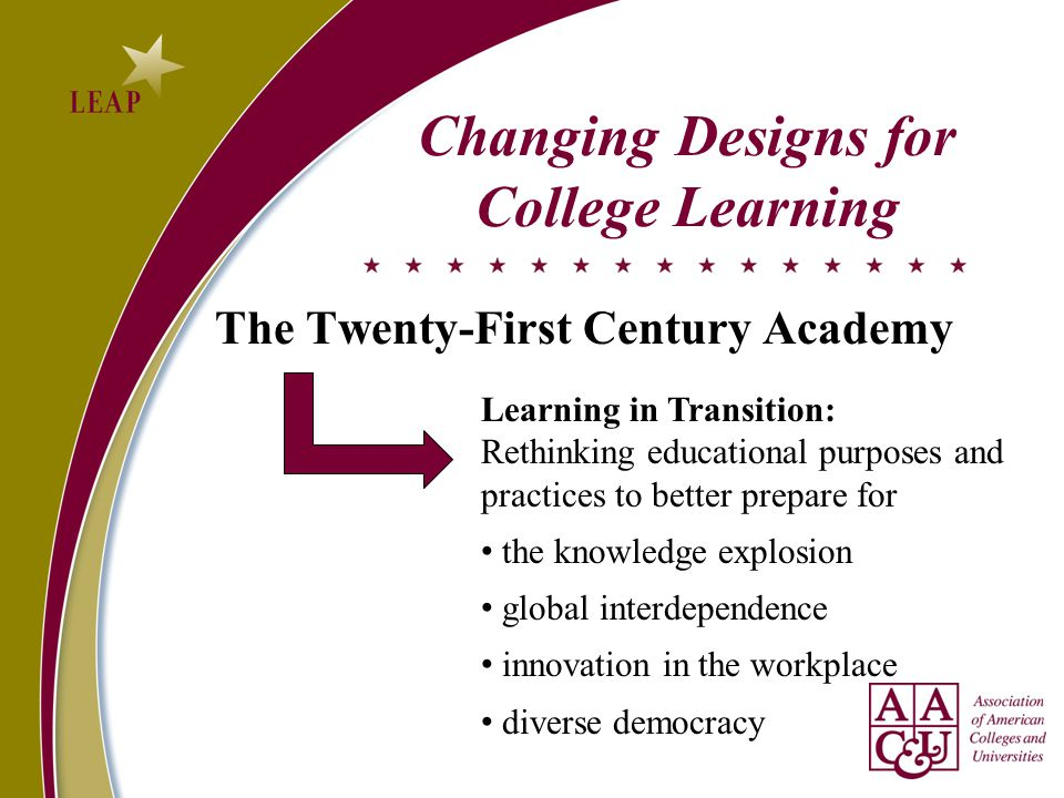 The Twenty-First Century Academy Changing Designs for College Learning Learning in Transition: Rethinking educational purposes and practices to better prepare for the knowledge explosion global interdependence innovation in the workplace diverse democracy
