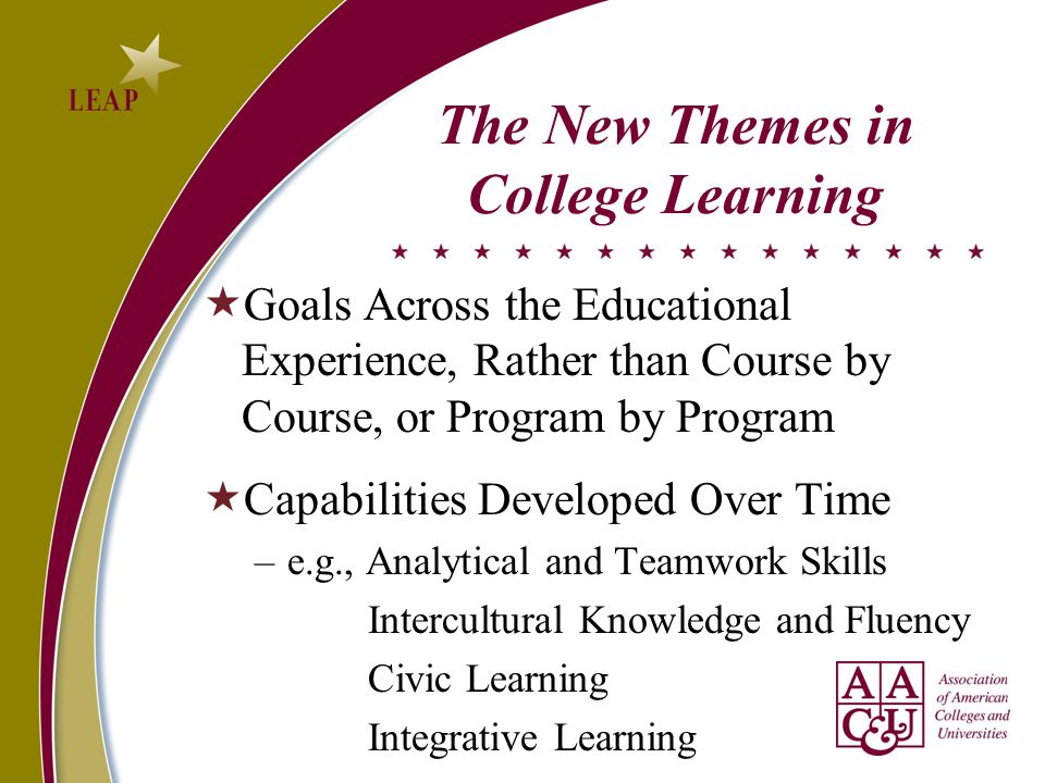 The New Themes in College Learning  Goals Across the Educational Experience, Rather than Course by Course, or Program by Program  Capabilities Developed Over Time –e.g., Analytical and Teamwork Skills Intercultural Knowledge and Fluency Civic Learning Integrative Learning