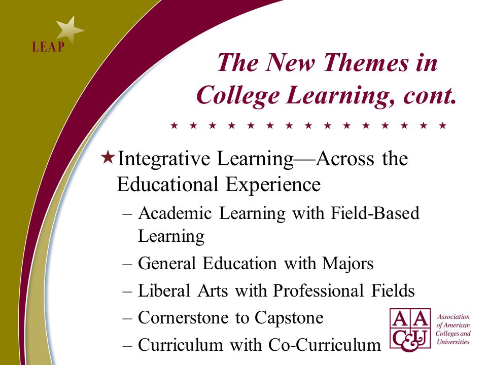The New Themes in College Learning, cont.