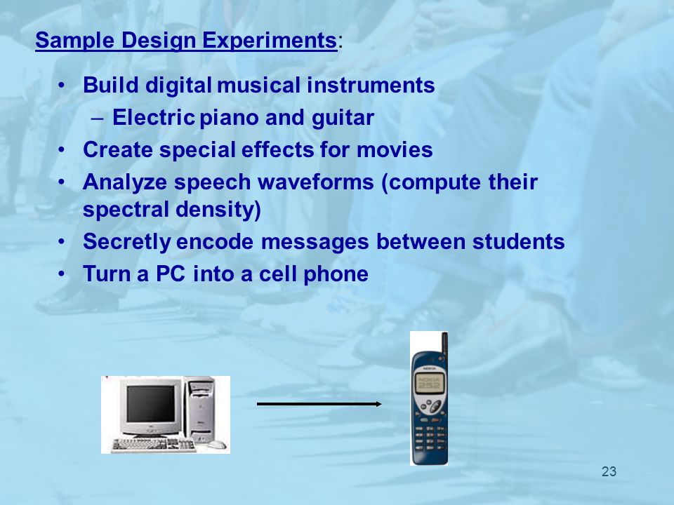 23 Sample Design Experiments: Build digital musical instruments –Electric piano and guitar Create special effects for movies Analyze speech waveforms (compute their spectral density) Secretly encode messages between students Turn a PC into a cell phone