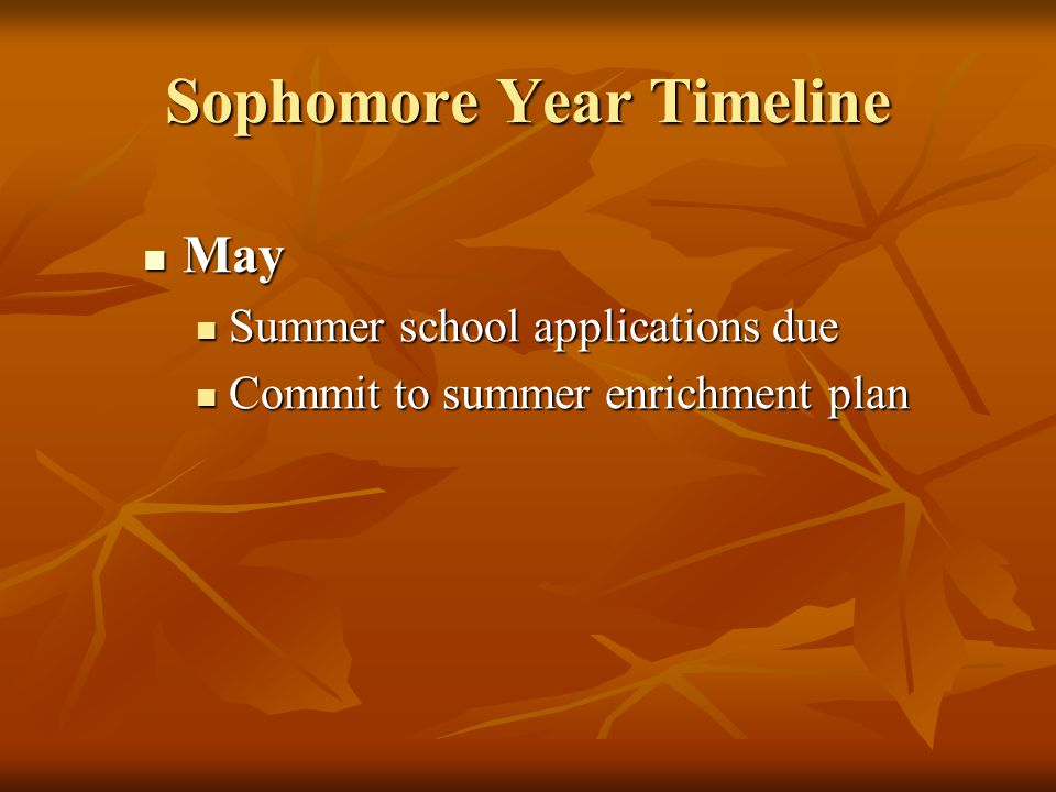 Sophomore Year Timeline May May Summer school applications due Summer school applications due Commit to summer enrichment plan Commit to summer enrichment plan