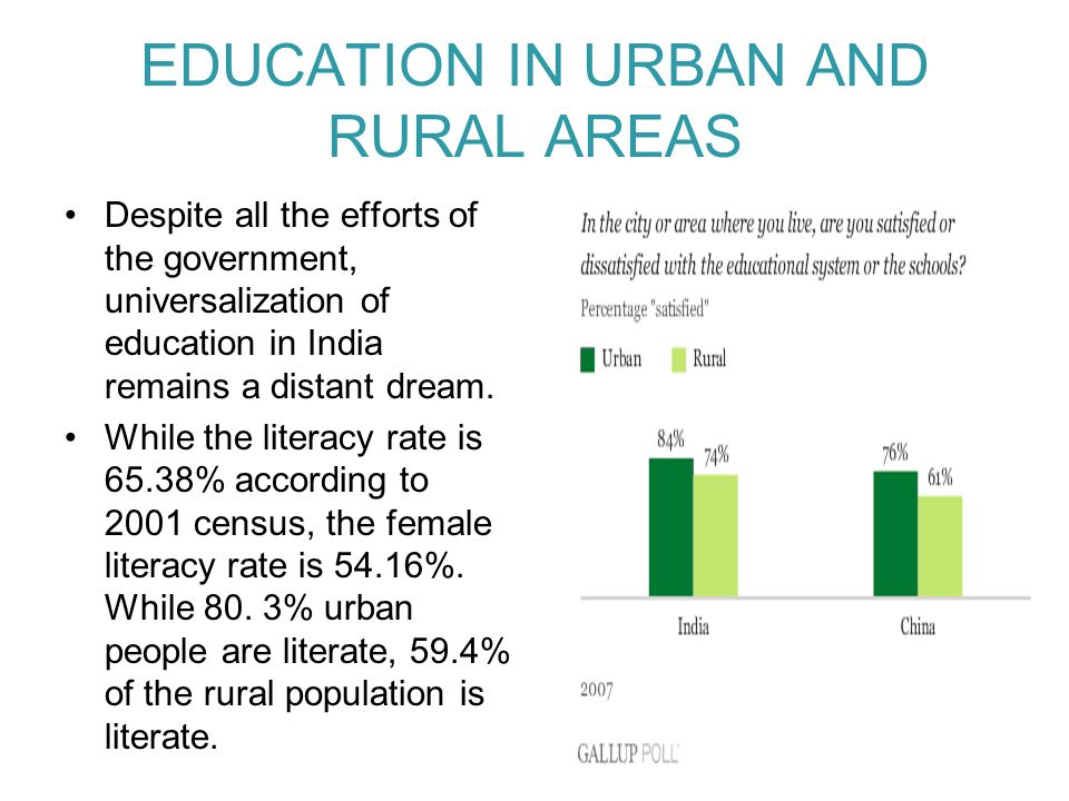 EDUCATION IN URBAN AND RURAL AREAS Despite all the efforts of the government, universalization of education in India remains a distant dream. While th