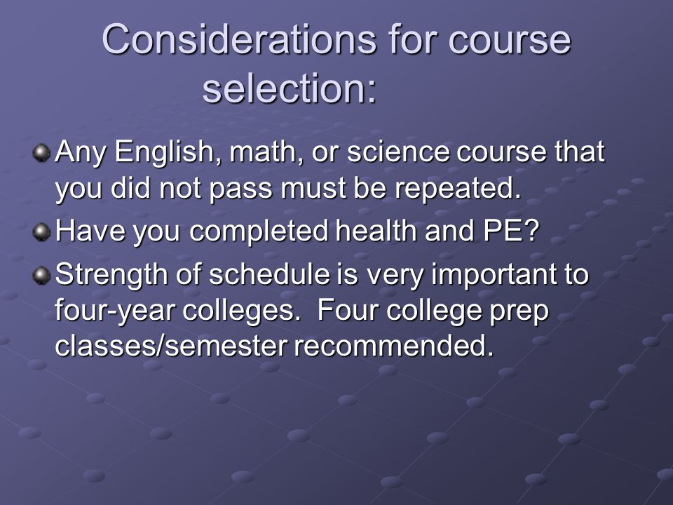 Considerations for course selection: Any English, math, or science course that you did not pass must be repeated.