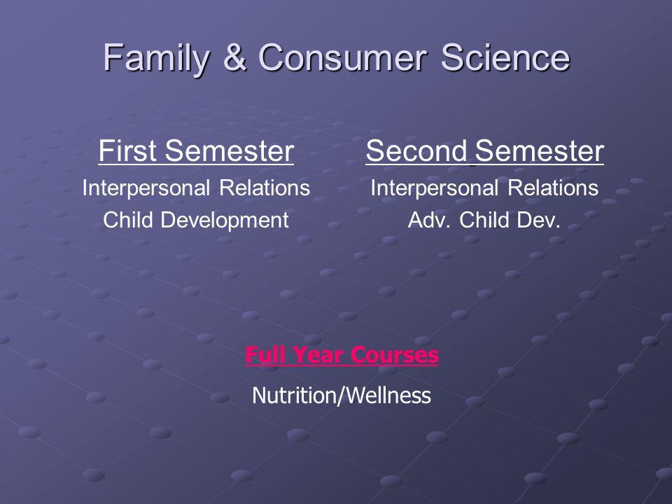 Family & Consumer Science First Semester Interpersonal Relations Child Development Second Semester Interpersonal Relations Adv.