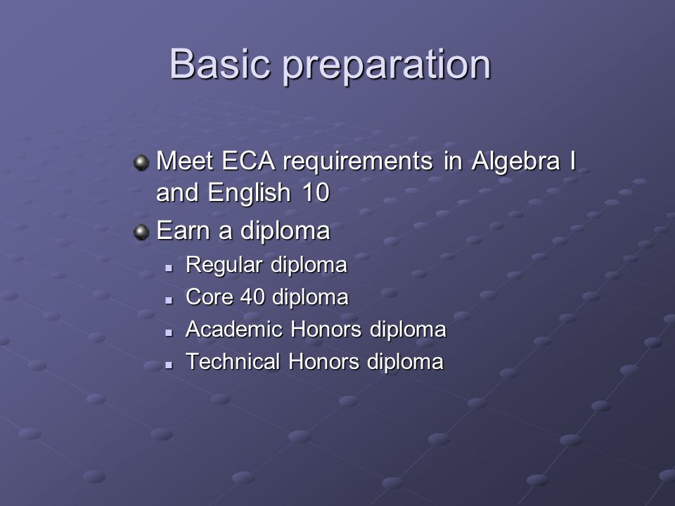 Basic preparation Meet ECA requirements in Algebra I and English 10 Earn a diploma Regular diploma Regular diploma Core 40 diploma Core 40 diploma Academic Honors diploma Academic Honors diploma Technical Honors diploma Technical Honors diploma