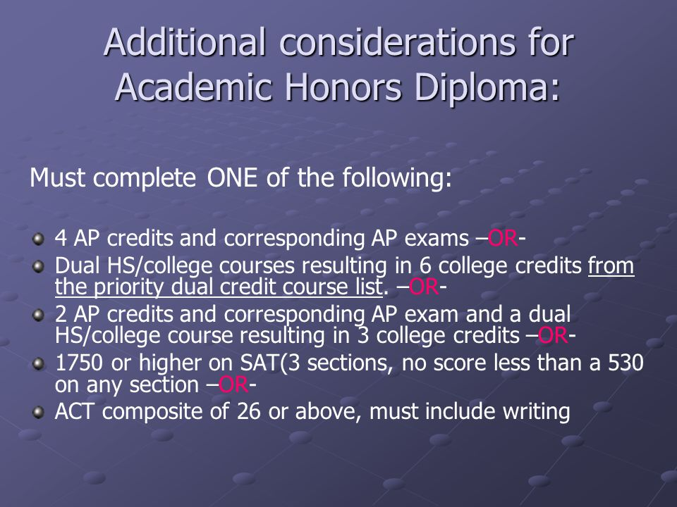 Additional considerations for Academic Honors Diploma: Must complete ONE of the following: 4 AP credits and corresponding AP exams –OR- Dual HS/college courses resulting in 6 college credits from the priority dual credit course list.