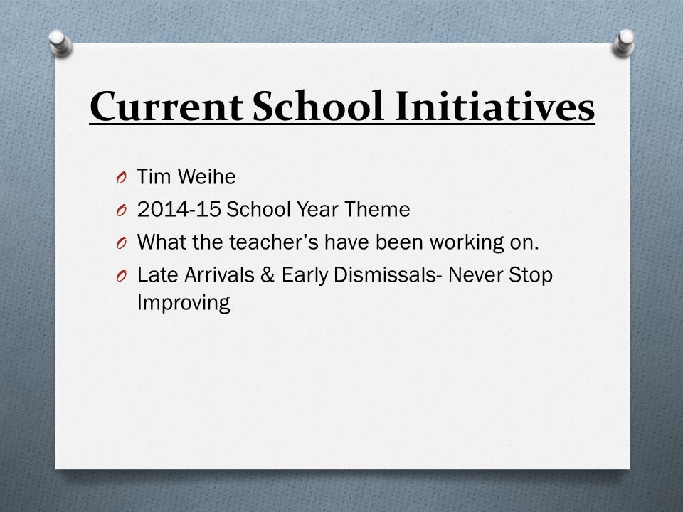 Current School Initiatives O Tim Weihe O 2014-15 School Year Theme O What the teacher's have been working on.