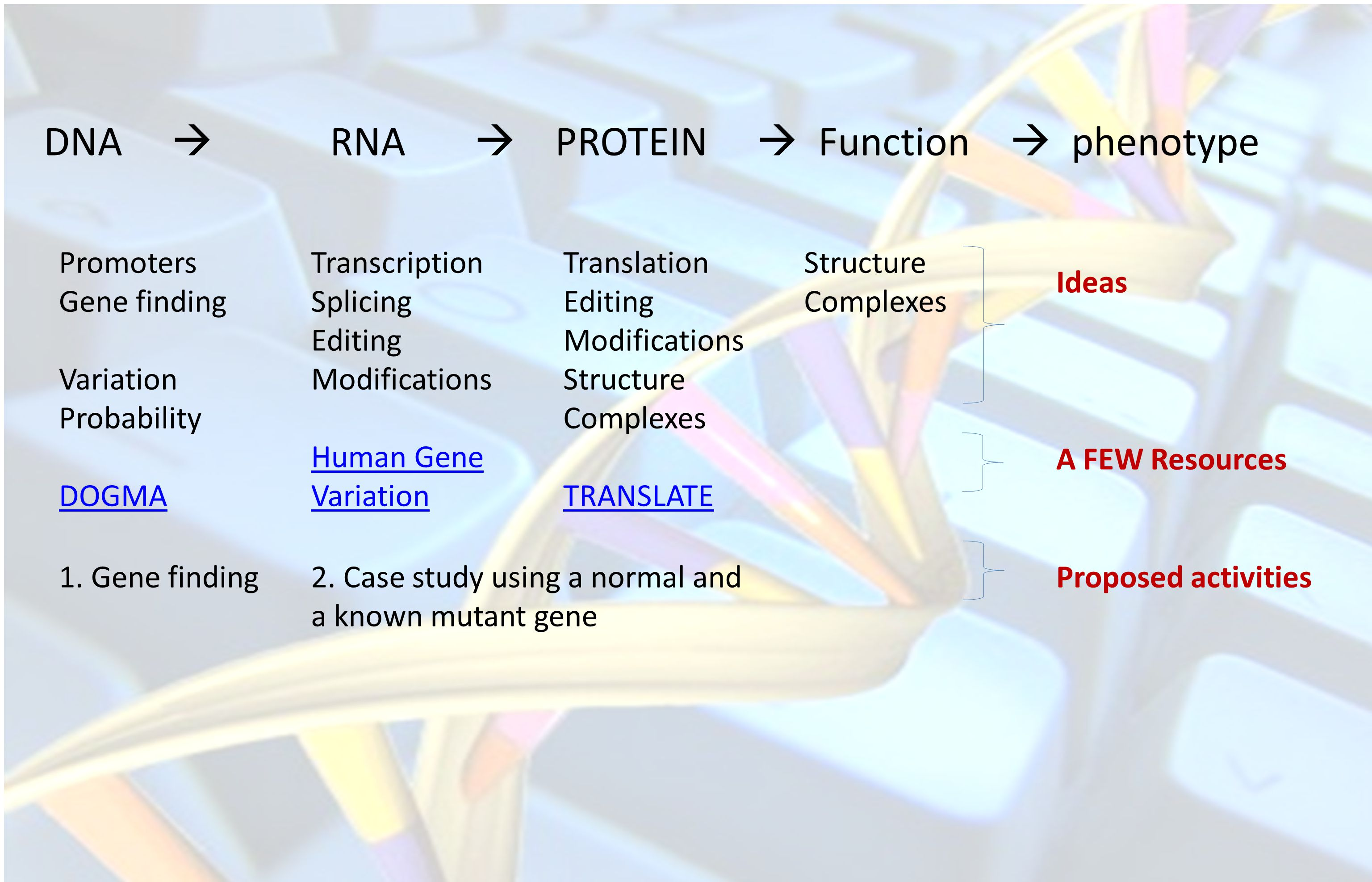 DNA  RNA  PROTEIN  Function  phenotype Promoters Gene finding Variation Probability DOGMA Transcription Splicing Editing Modifications Human Gene Variation Translation Editing Modifications Structure Complexes TRANSLATE Structure Complexes 1.
