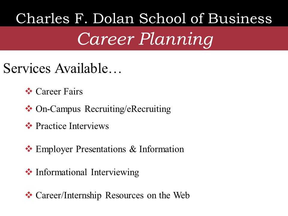 Charles F. Dolan School of Business Career Planning  Career Fairs  On-Campus Recruiting/eRecruiting  Practice Interviews  Employer Presentations &
