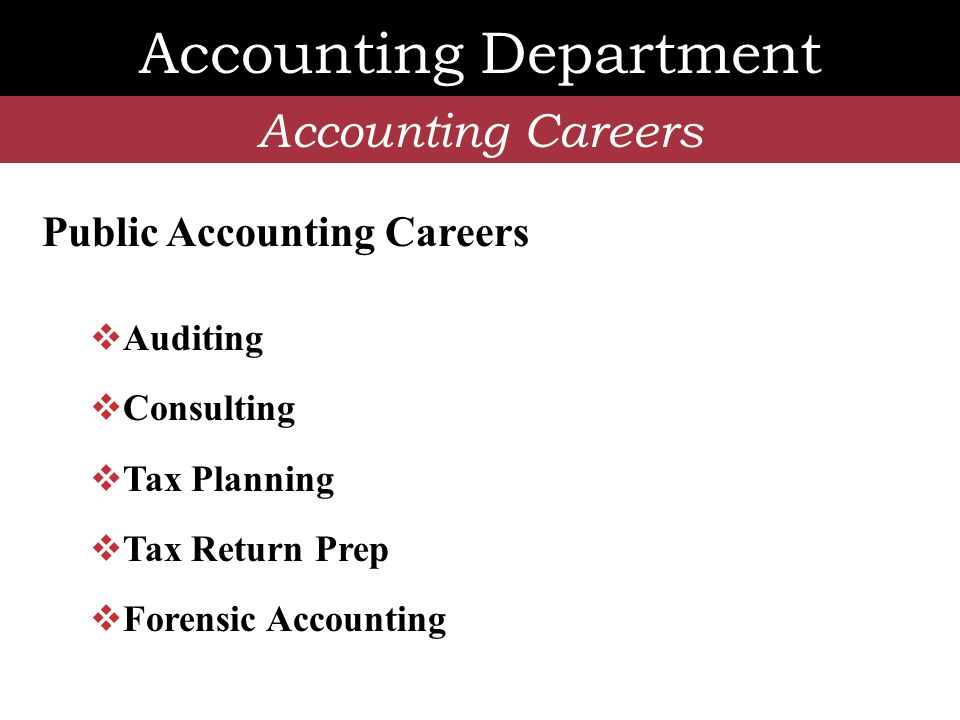 Accounting Department Accounting Careers Non-Public Accounting Careers  CFO  Treasure  Accountant  Corporate Controller  Litigation Consultant