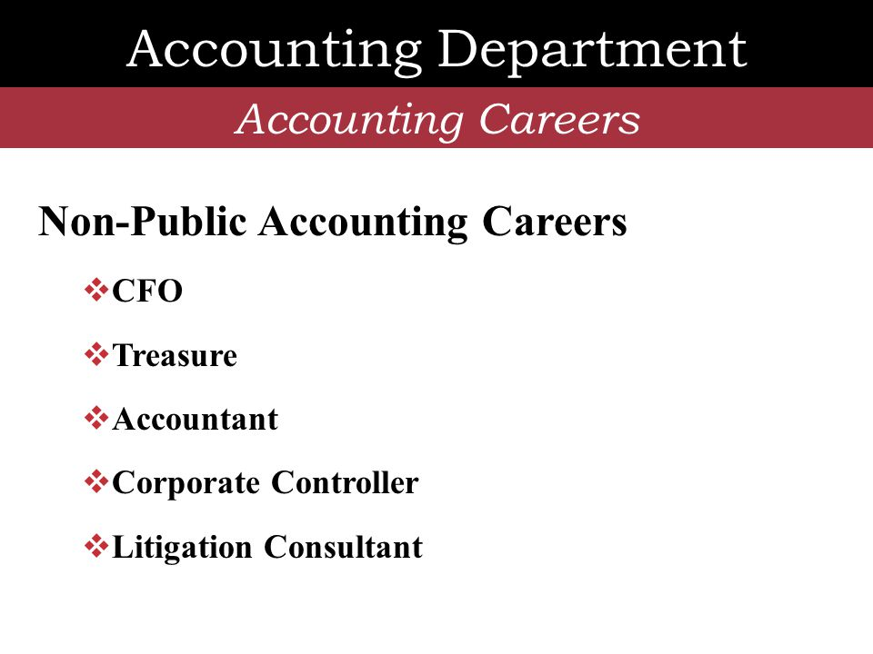 Accounting Department Accounting Employers Most Fairfield graduates work toward CPA certification at…  Big 4 Firms  Deloitte; Ernst & Young  KPMG; PricewaterhouseCoopers  National Firms  e.g., UHY  e.g., McGladrey & Pullen  Regional/Local Firms  e.g., Blum Shapiro  e.g., Dylewsky, Goldberg & Brenner