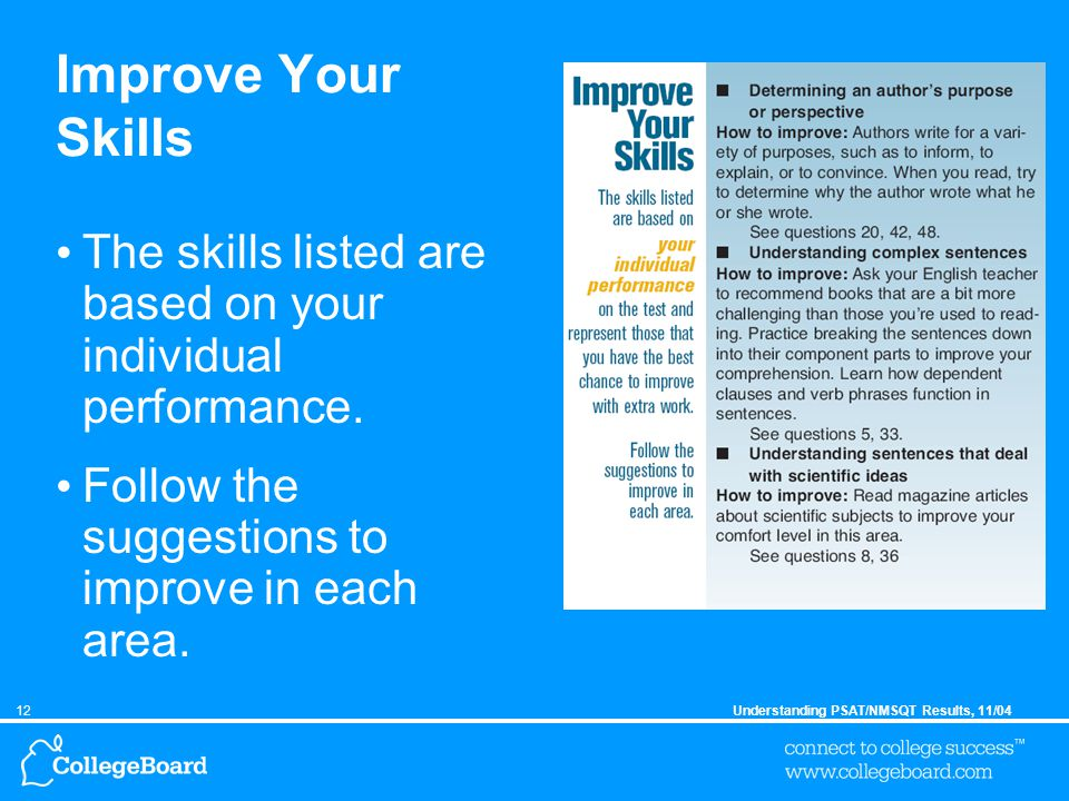12Understanding PSAT/NMSQT Results, 11/04 Improve Your Skills The skills listed are based on your individual performance.