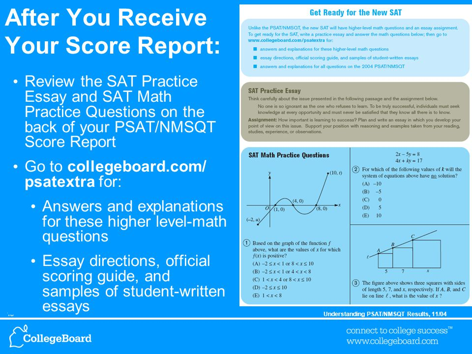 18Understanding PSAT/NMSQT Results, 11/04 After You Receive Your Score Report: Review the SAT Practice Essay and SAT Math Practice Questions on the back of your PSAT/NMSQT Score Report Go to collegeboard.com/ psatextra for: Answers and explanations for these higher level-math questions Essay directions, official scoring guide, and samples of student-written essays