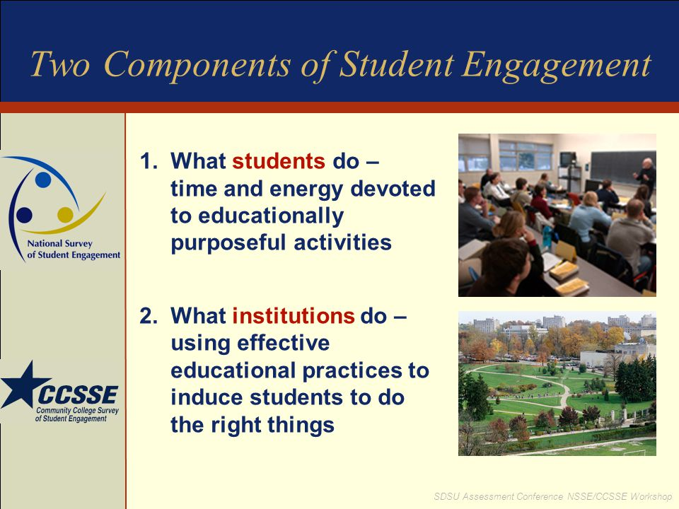 SDSU Assessment Conference NSSE/CCSSE Workshop Two Components of Student Engagement 1.What students do – time and energy devoted to educationally purp