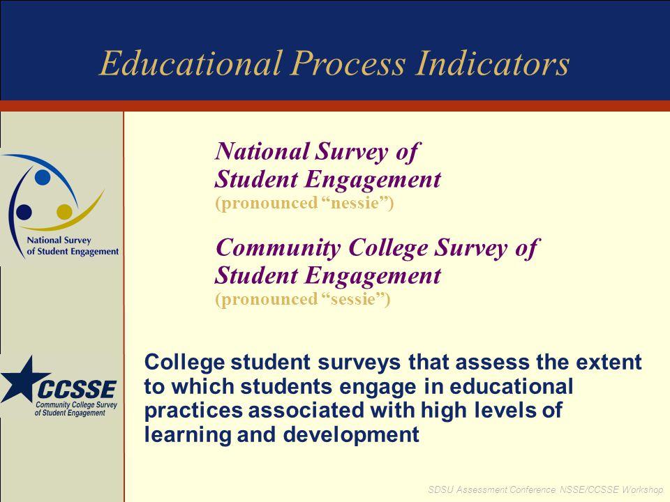 """SDSU Assessment Conference NSSE/CCSSE Workshop National Survey of Student Engagement (pronounced """"nessie"""") Community College Survey of Student Engagem"""
