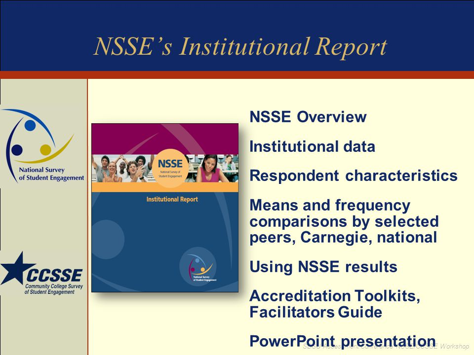 SDSU Assessment Conference NSSE/CCSSE Workshop NSSE's Institutional Report NSSE Overview Institutional data Respondent characteristics Means and frequ