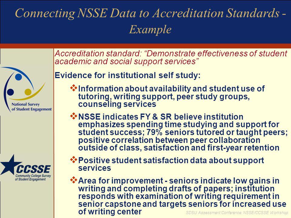 "SDSU Assessment Conference NSSE/CCSSE Workshop Connecting NSSE Data to Accreditation Standards - Example Accreditation standard: ""Demonstrate effectiv"