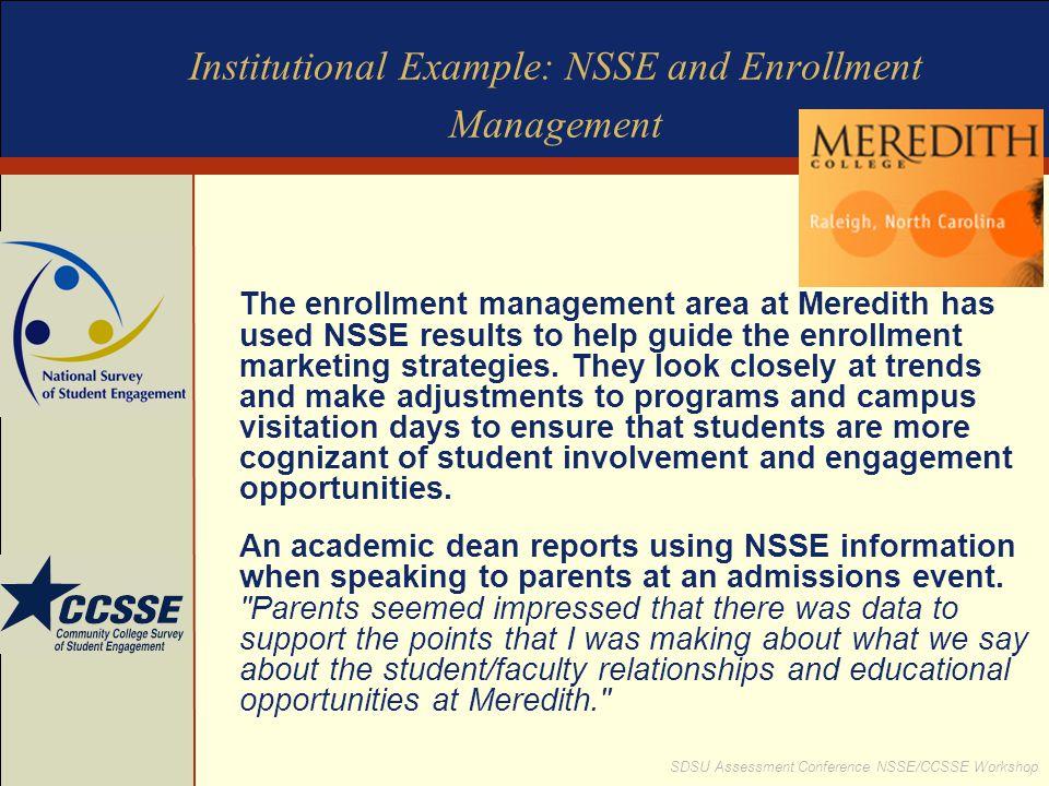 SDSU Assessment Conference NSSE/CCSSE Workshop Institutional Example: NSSE and Enrollment Management The enrollment management area at Meredith has us