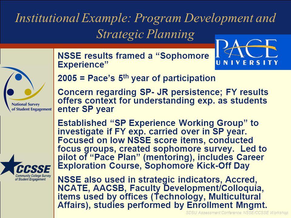 """SDSU Assessment Conference NSSE/CCSSE Workshop Institutional Example: Program Development and Strategic Planning NSSE results framed a """"Sophomore Expe"""