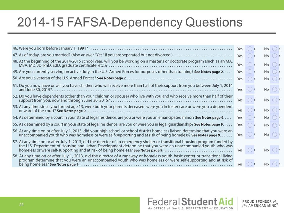 2014-15 FAFSA-Dependency Questions 25