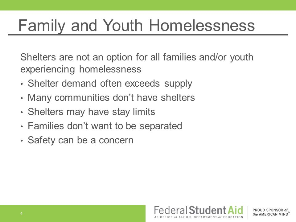 Family and Youth Homelessness Shelters are not an option for all families and/or youth experiencing homelessness Shelter demand often exceeds supply M