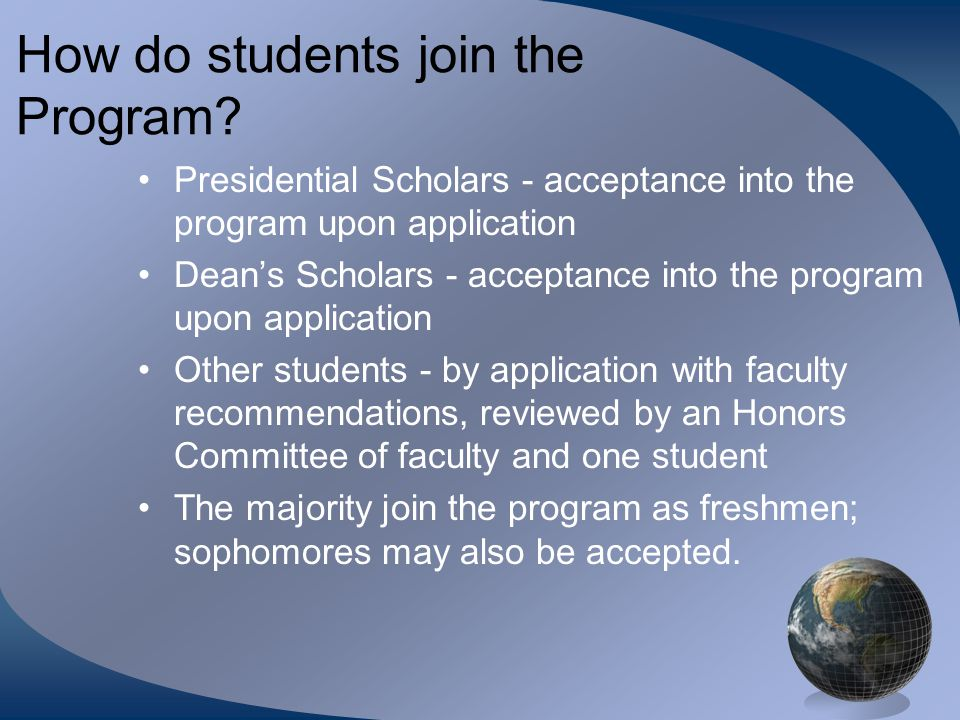 How do students join the Program.