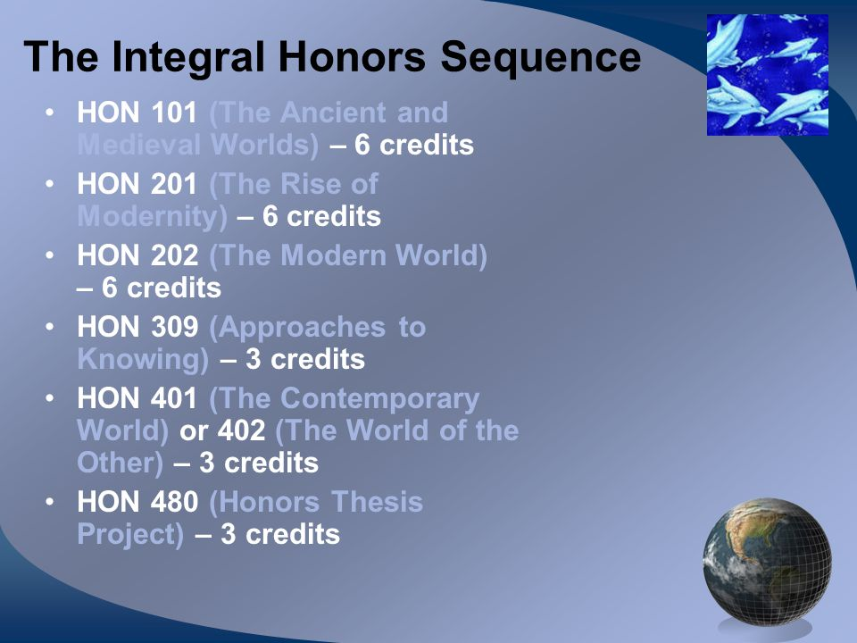 The Integral Honors Sequence HON 101 (The Ancient and Medieval Worlds) – 6 credits HON 201 (The Rise of Modernity) – 6 credits HON 202 (The Modern World) – 6 credits HON 309 (Approaches to Knowing) – 3 credits HON 401 (The Contemporary World) or 402 (The World of the Other) – 3 credits HON 480 (Honors Thesis Project) – 3 credits