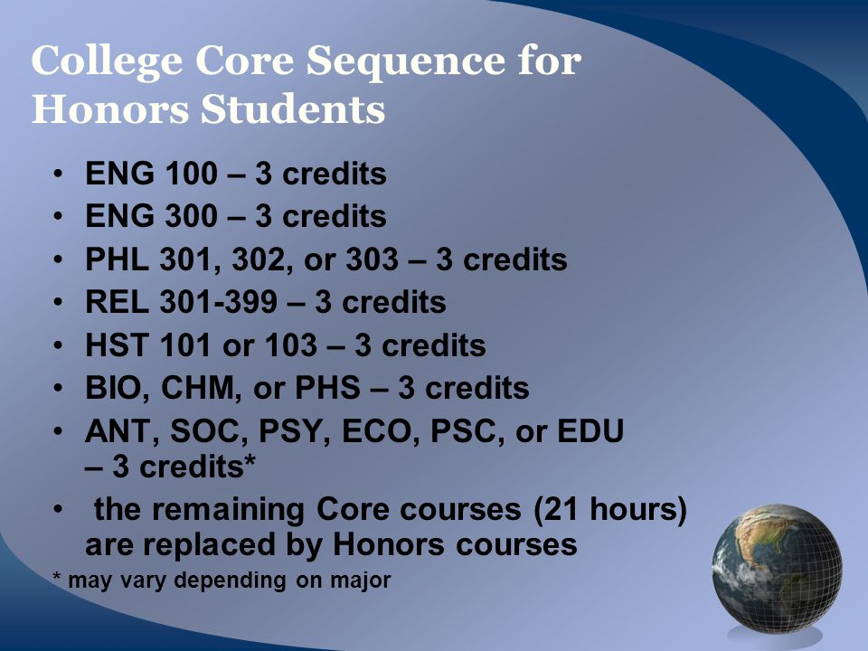 College Core Sequence for Honors Students ENG 100 – 3 credits ENG 300 – 3 credits PHL 301, 302, or 303 – 3 credits REL 301-399 – 3 credits HST 101 or 103 – 3 credits BIO, CHM, or PHS – 3 credits ANT, SOC, PSY, ECO, PSC, or EDU – 3 credits* the remaining Core courses (21 hours) are replaced by Honors courses * may vary depending on major