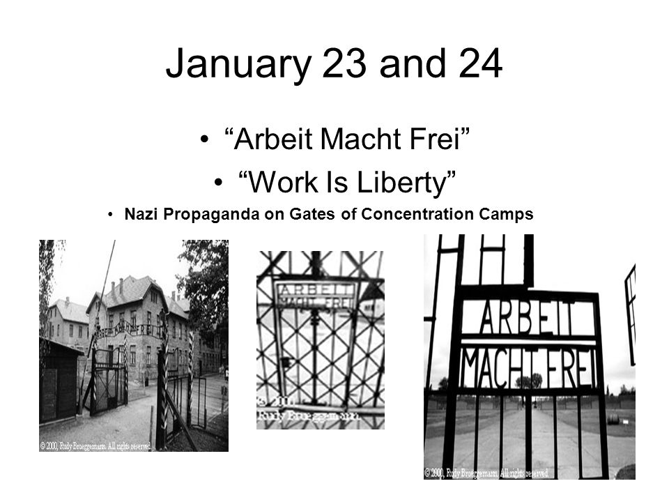 """January 23 and 24 """"Arbeit Macht Frei"""" """"Work Is Liberty"""" Nazi Propaganda on Gates of Concentration Camps"""