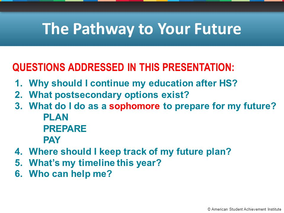 © American Student Achievement Institute The Pathway to Your Future QUESTIONS ADDRESSED IN THIS PRESENTATION: 1.Why should I continue my education after HS.