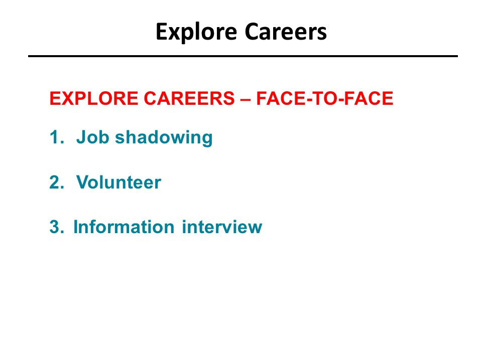 Explore Careers EXPLORE CAREERS – FACE-TO-FACE 1.Job shadowing 2.Volunteer 3.Information interview