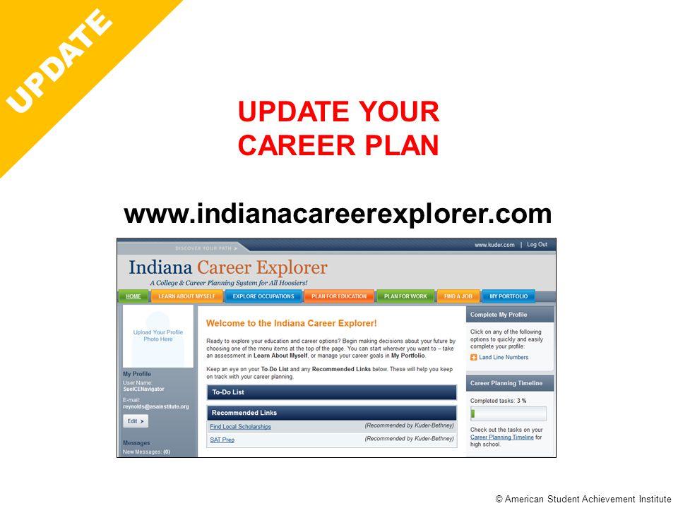 © American Student Achievement Institute Career Plan UPDATE UPDATE YOUR CAREER PLAN www.indianacareerexplorer.com