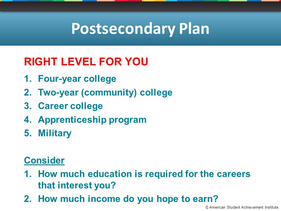© American Student Achievement Institute Postsecondary Plan RIGHT LEVEL FOR YOU 1.Four-year college 2.Two-year (community) college 3.Career college 4.Apprenticeship program 5.Military Consider 1.How much education is required for the careers that interest you.