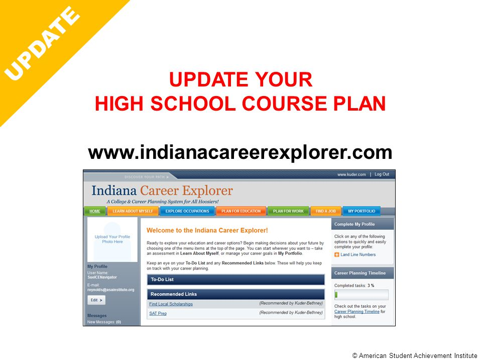 © American Student Achievement Institute Career Plan UPDATE UPDATE YOUR HIGH SCHOOL COURSE PLAN www.indianacareerexplorer.com