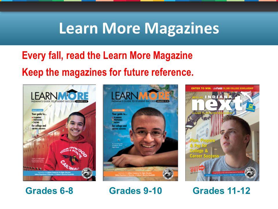 Grades 6-8Grades 9-10Grades 11-12 Learn More Magazines Every fall, read the Learn More Magazine Keep the magazines for future reference.