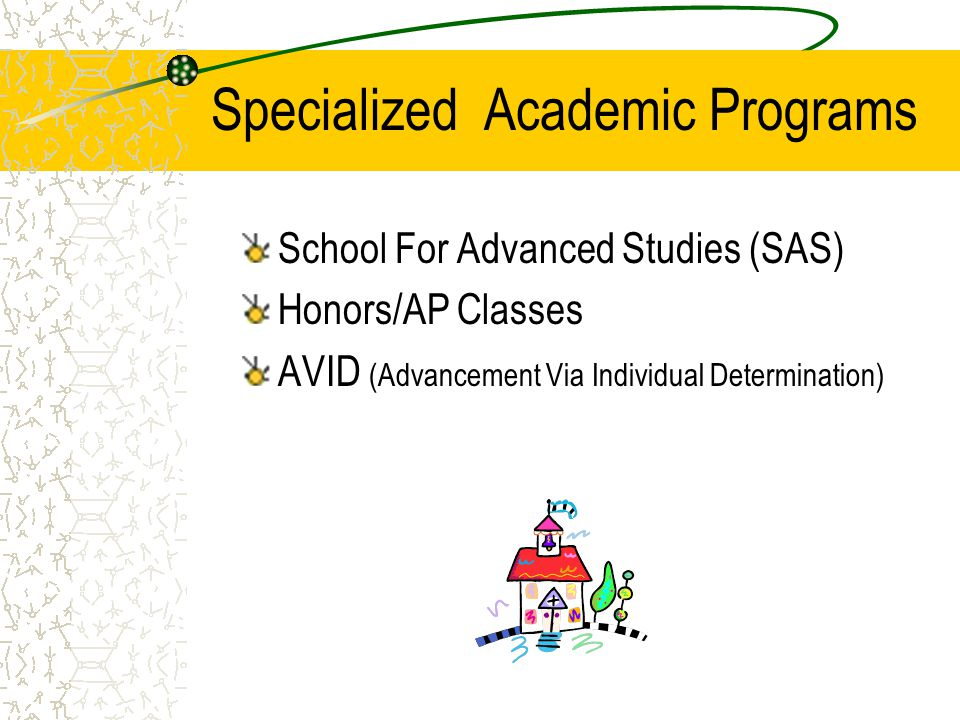 Specialized Academic Programs School For Advanced Studies (SAS) Honors/AP Classes AVID (Advancement Via Individual Determination)