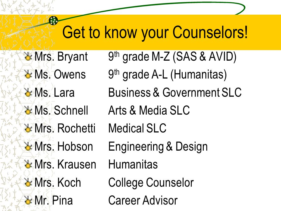 Get to know your Counselors. Mrs. Bryant9 th grade M-Z (SAS & AVID) Ms.