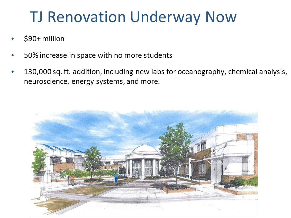 TJ Renovation Underway Now $90+ million 50% increase in space with no more students 130,000 sq. ft. addition, including new labs for oceanography, che