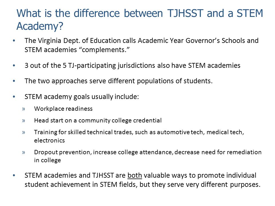 What is the difference between TJHSST and a STEM Academy.