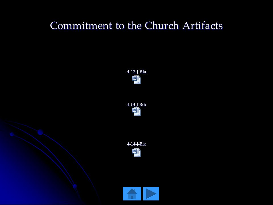 Commitment to the Church Artifacts 4-12-J-BIa4-13-J-Bib4-14-J-Bic