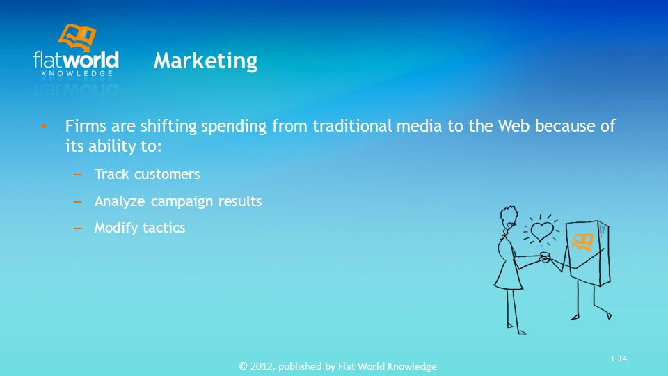 © 2012, published by Flat World Knowledge 1-14 Marketing Firms are shifting spending from traditional media to the Web because of its ability to: – Track customers – Analyze campaign results – Modify tactics